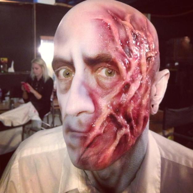 """""""Snakie"""" from FrightTown Haunted House. Custom latex work and airbrush paint. Model: Jason Kampa"""