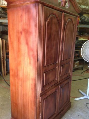 Armoire color matched wood