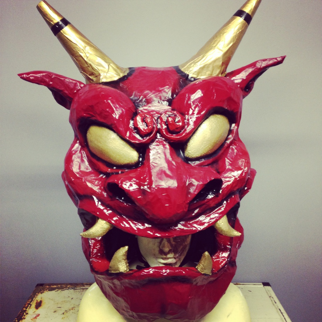 """Oni"" Japanese demon. Paper Mache mask for Aika and Rose"